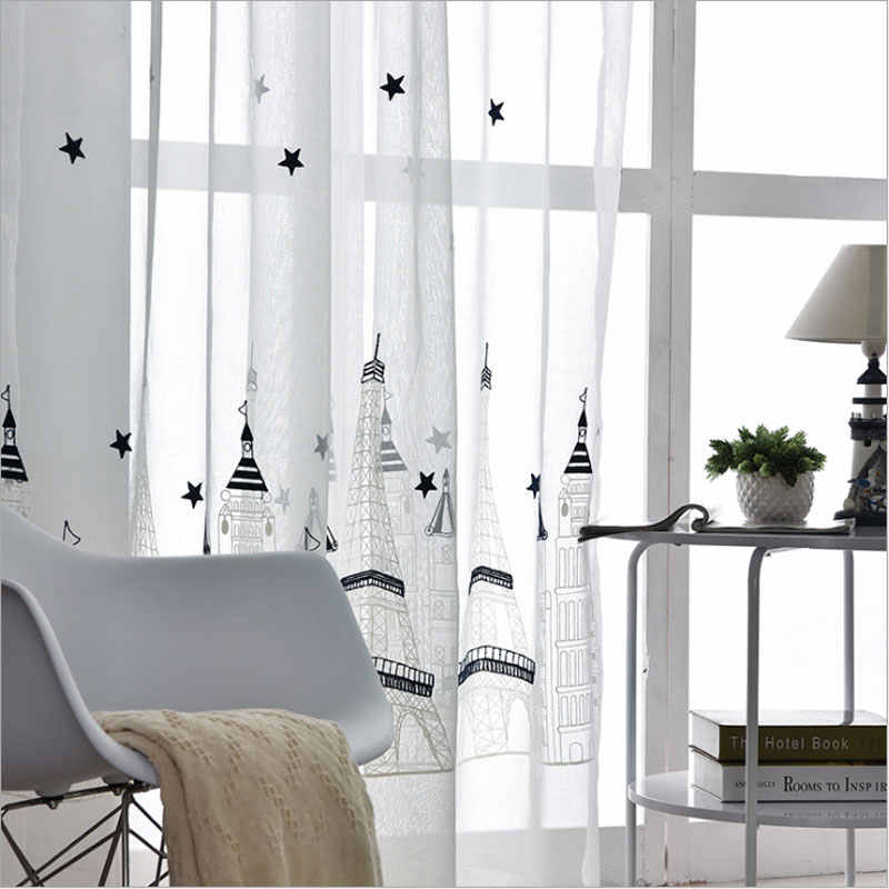 Translucidus Tulle for Rooms White Modern Window Curtain Design Scenic Embroidered Sheer Curtains for Children FBQ801