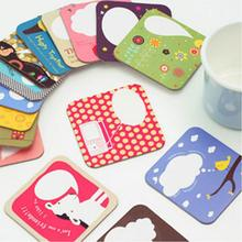 New Arrive 4Pcs/set Durable High Quality Cartoon Drink Coasters Square Cup Mat Coaster For Posavasos(China)
