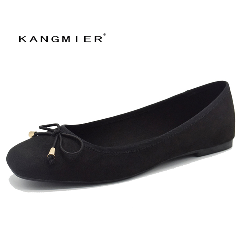 Ballet Flats Shoes Women Black Suede Ballerina Flats Square Toe With Bow Tie Autumn Comfortable Fashion KANGMIER Brand <br>
