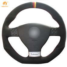 Mewant Black Suede Black Red Yellow Maker Car Steering Wheel Cover for Volkswagen Golf 5 Mk5 GTI VW Golf 5 R32 Passat R GT 2005