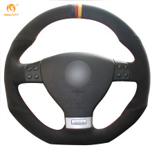 MEWANT Black Suede Black Red Yellow Maker Car Steering Wheel Cover for Volkswagen Golf 5 Mk5 GTI VW Golf 5 R32 Passat R GT 2005(China)