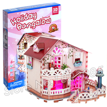 114PCS Holiday Bungalow Dollhouse Princess Series 3D Puzzle DIY Jigsaw Assembly Model Building Set Architecture Kids Girls Toys