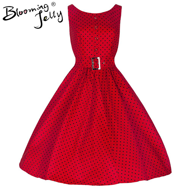 Blooming Jelly Red Polka Dot Belted Swing Dress Single breasted Tunic Dress Elegant Vintage Dresses 2017