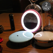 Convenience Hot Sale LED Cosmetic Small Mirror Night Light Bule Or Pink color 2 Pack