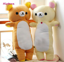 Hiatema Kawaii 90cm Cartoon Rilakkuma Teddy Bear Plush Pillow Large Stuffed Sofa Cushion Easy Bear Long Pillow Doll