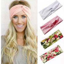 Floral Print Women Cotton Stretch Twist Headbands Turban Sport Bandana Hair Accessories Bandage On Head Gum Hair Bands(China)