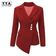 2018 New Fashion Suit Women Blazer Workwear Unregular Office Ladies Blazers Spring Tops Female Large Size S-XXXL Khaki Black Red(China)