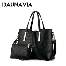 DAUNAVIA 2017 women handbag leather hand bag michael crocodile crossbody bag shoulder messenger bags clutch tote+purse 2  ND109