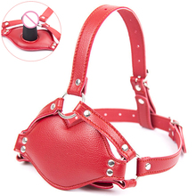 Buy camaTech PU Leather Head Harness Mask Mouth Gag Strapon Dildo Fetish BDSM Bondage Hood Silicone Penis Gag Slave Adult Games