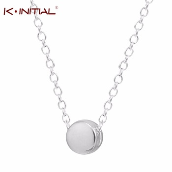 Kinitial 1Pcs 925 Silver Girl Loves Round Bead Necklaces Pendants Circle Necklace for Women Bijoux Body Chain Statement Necklace