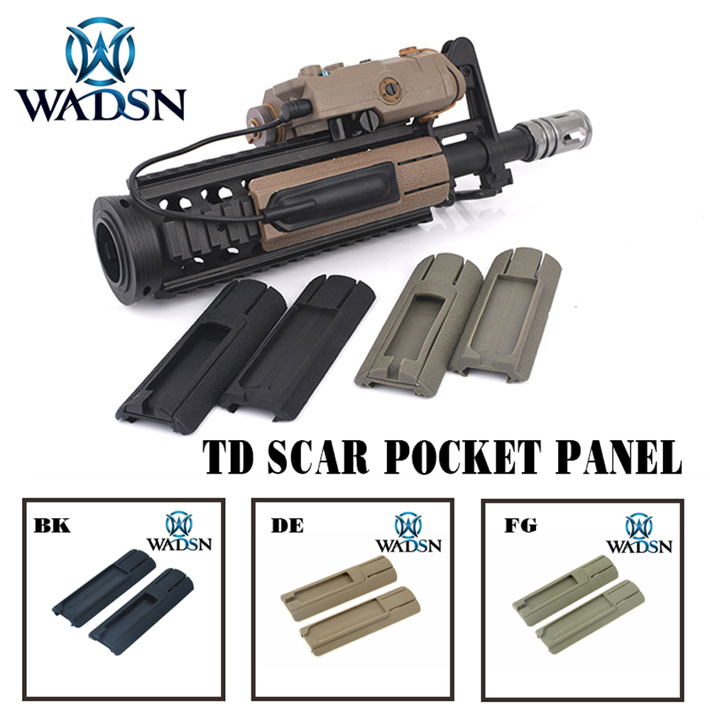 WADSN Tactical Airsoft 4.125'' ITI  TD Scar Pocket Panel Remote Switch Rail Pads Set Light Fits 20mm rails PEQ Accessory WEX300