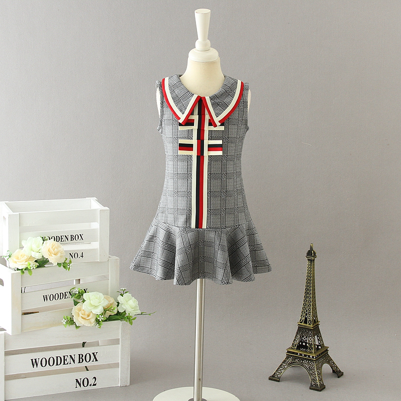 New 2019 Children Girls Cotton Plaids Vest Dresses, Baby Kids Preppy Style Dress 5 pcs/lot, Wholesale Free Shipping