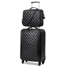 Wholesale!13 16 20 24inches female euro fashion pu leather trolley luggage on universal wheels,mother and son black luggage set