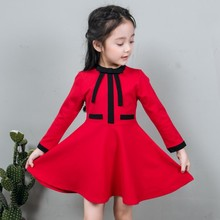 2017 new spring autumn 2-8 years old children clothes child clothing red dresses girl solid dress baby long sleeve dress