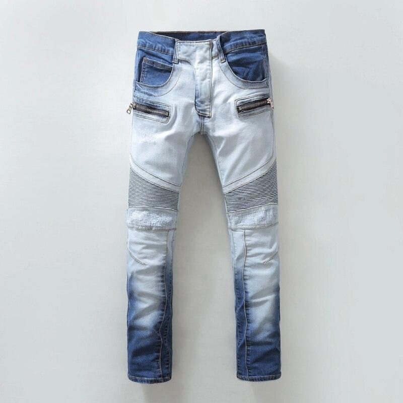 Light Blue Washed Distressed Jeans Men Casual Fashion Men Jeans modern Designer Biker slim Fit Pants High Quality Denim OverallОдежда и ак�е��уары<br><br><br>Aliexpress