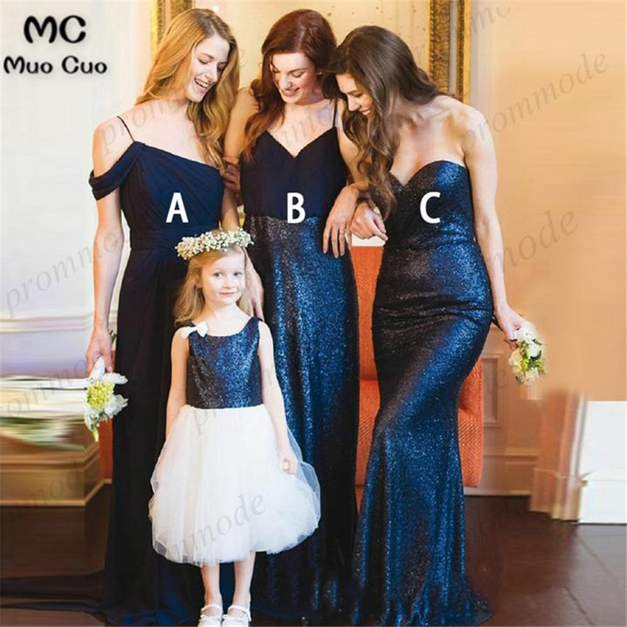 Cheap Spaghetti Straps Dark Blue Sequin Long Bridesmaid Dresses,Wedding Party Gowns