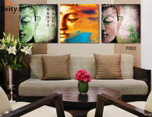 Three set, Wall Art, Oriental Buddha head picture, home decor items, digital canvas painting(no frame)F002