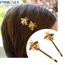 2pcs Lovely Girls Exquisite Golden Bee Hair Claws Hairpins Side Clip Hair Accessories For Women Animal Hair Clip Barrettes Jewel(China)