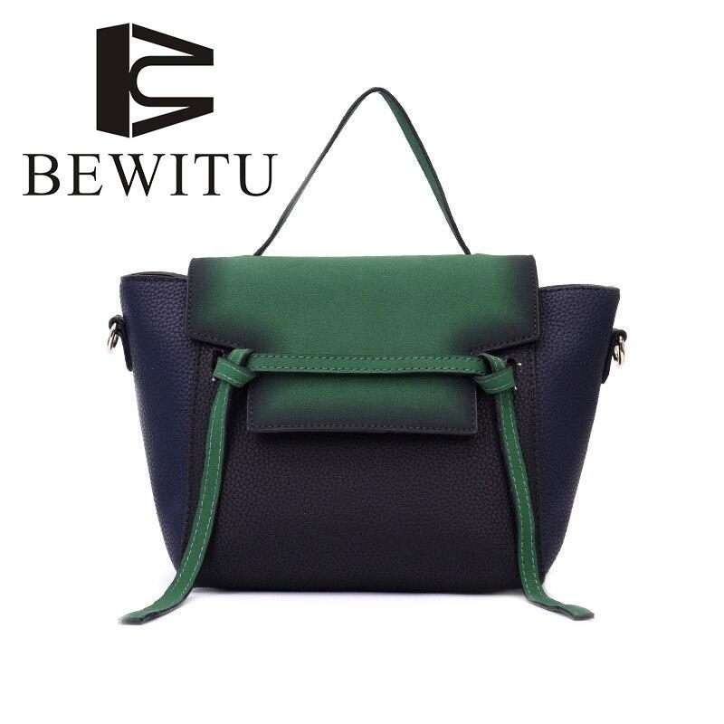 BEWITU Hit Color Handbags 2018 Autumn and Winter New European and American Casual Shoulder Bag Lychee Grain Trapeze Handbag<br>