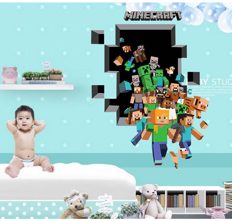 HTB1J 6OXT1z01JjSZFCq6xY.XXac - Newest Minecraft Wall Stickers 3D Wallpapers Kids Room Decals Minecraft Steve Home Decoration Popular Games Home Free Shipping