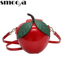 SMOOZA cute Women Crossbody Bags Famous Brand Red Apple Bag Fashion Female Messenger Bags Leaves Mini Bags for Teenager Girls(China)