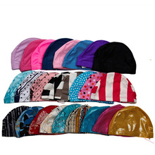 Free Size Swimming Cap Polyester Protect Ears Long Hair Sports Swim Pool Hat Swimwear for Men Women Adults Print Swim Caps(China)