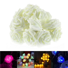 Christmas Wedding Decoration 20 LED Rose Fairy String Lights Indoor Outdoor Flower Lights Decoration for Garden New Year(China)