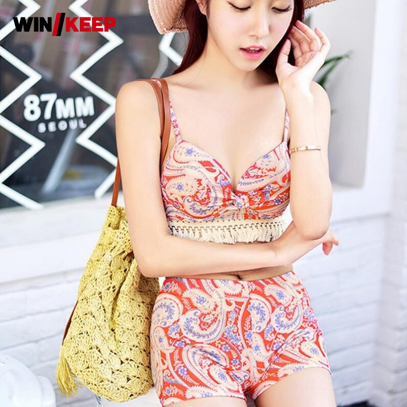 Summer Swim Wear Swimsuit For Women Korean Style Three Piece Sets Print Floral Sexy High Waist Plus Size Tassel Loose Biquini<br>