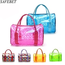 SAFEBET Brand 2017 Fashion Summer Beach Bag Women's Jelly Handbags Crystal Messenger Bags Transparent Bags High Quality PVC Bags(China)