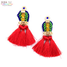 New 2017  hot sell Trend fashion red rope tassel earring vintage design party girl statement Earrings for women jewelry