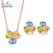LAMOON Natural Gemstone 3ct Oval Yellow Citrine Green Peridot Blue Topaz 925 sterling-silver-jewelry Set Jewelry V003-6(China)
