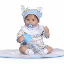 Soft Real Like Reborn Baby Doll Toys 16 inch Lifelike Alive Silicone Baby Dolls With Magnetic Pacifier bebe Boneca Reborn NPK