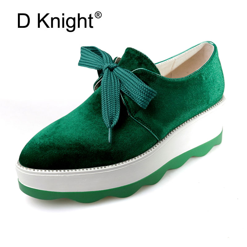 Velvet Flat Platform Shoes Woman 2017 Casual Creepers British Style Oxfords Spring Wedges Lace-Up Women Shoes Plus Size 33-42<br>