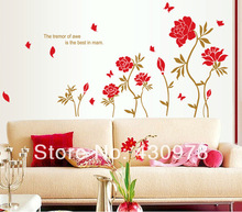 QZ1221 Free Shipping 1 Pcs Blossoming Rich Peony Gorgeous Red Flower Green Leaf  Removable Wall Stickers Fancy Home Decoration