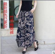 1pcs/lot free shipping Plus size Summer Women Print Flower Pattern Wide Leg Loose cotton Dress Pants Female Casual Skirt Trouser(China)