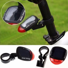Solar Powered LED Rear Flashing Tail Light for Bicycle Cycling Lamp Safety TR with Adjustable Clamp Waterproof Bike accessories(China)
