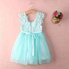 2017 Fashion Girls Clothing Lace Vest Ball Gown Tutu Dress Bithday Wedding Christmas Party Elegant Princess Children Dresses(China)