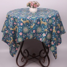 Beautiful Florets Hearts Deer Blue Holiday Christmas Table Cloth for Decoration / Vintage Cotton Linen Cartoon Table Cover