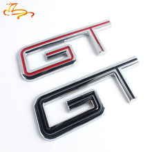 1X GT Car Emblem Badge Sticker Red Metal For Ford Mustang 113x37 mm