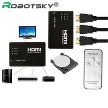 With CR2025 Battery Switcher Splitter Hub & IR Remote 1080p 3 In 1 Out 3 Port Video HDMI Switch Selector For HDTV PS3 DVD