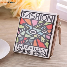 Naivety Vintage Animal Printing Purse Cool PU Leather Short Wallet Clutch Women Monedero S61223 drop shipping