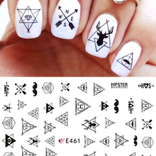 SWEET TREND 1 Sheet Ultra thin 3D Nail Stickers Geometric Triangle Decals Nail Art Decoration DIY Beauty Accessories LAE461-2