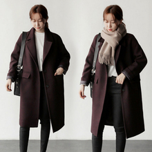 Discount Women 's coat new winter straight woolen coat thick in the long paragraph Slim was thin woolen coat woman clothing(China)