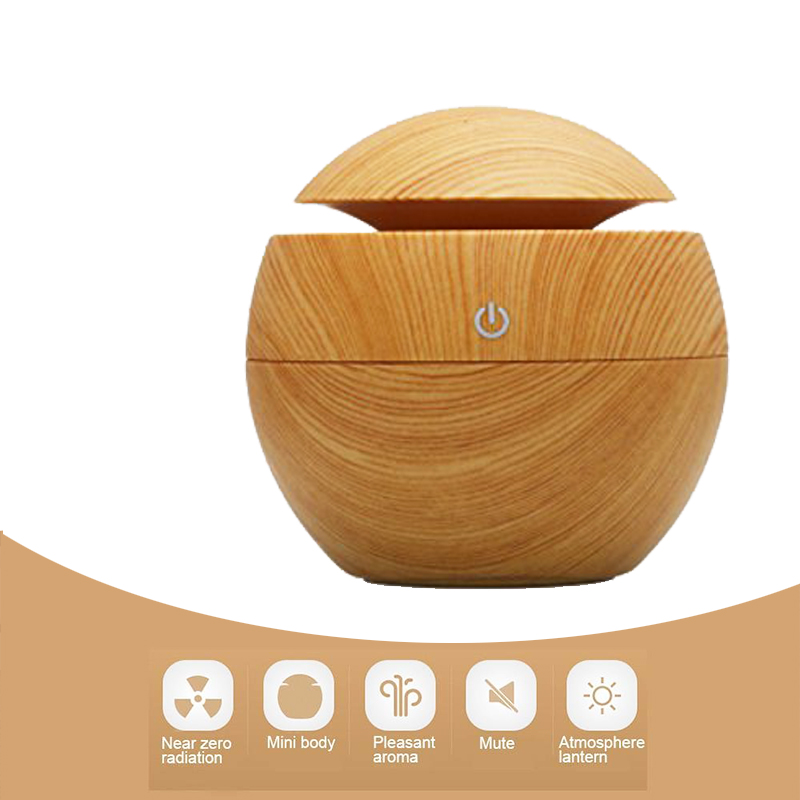 130ML Mini USB Humidifier car Aroma Essential Oil Diffuser high quality Wood grain humidifier for home Beauty salon and office <br><br>Aliexpress