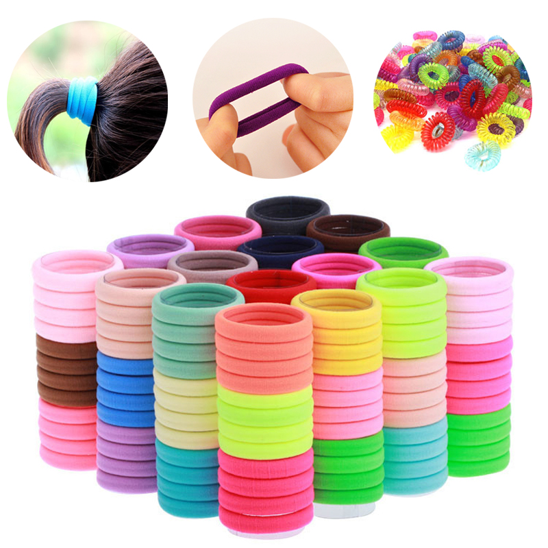 50 Hair Bobbles Mini Kids Hairband Elastic Stretchy Scrunchy Ponytail Rubber Tie