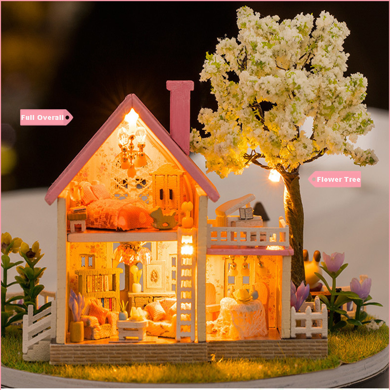 DIY Room Fashion Wooden Assembled Mini Cottage Miniature Happy Ferris Wheels One Set Doll House Furniture Wood Miniatura Toys (8)