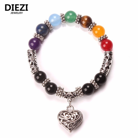 P 7 Heart Charm Women Stone Mixed Jewelry Men Bracelet