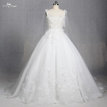 TW0189 Boat Neckline Illusion Cloak Applique With Beading Rhinestones Princess Style Wedding Dress(China)