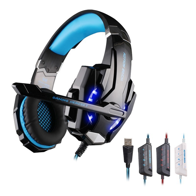 EACH G9000 Gaming Headphone USB 7.1 Surround Sound Headset Earphone With Mic LED WE2X For PS4 PC Tablet Gamer earphone<br><br>Aliexpress