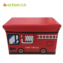 Actionclub Multi-function Cartoon Car Storage Box Toy Organizer Stool Folding Leather Storage Chair Seat Housekeeping For Fun